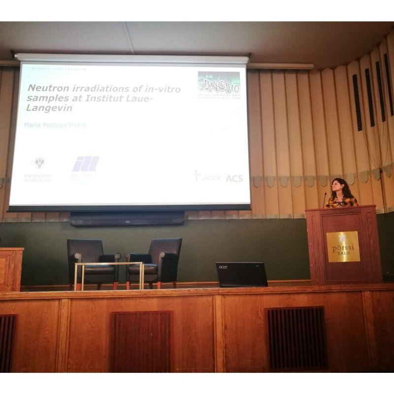"María Pedrosa presentando ""10th Young Researchers' BNCT Meeting"" - NEUTRONES PARA MEDICINA"