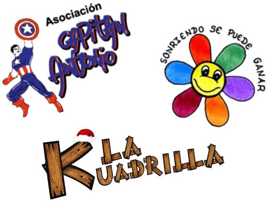 Logos de asociaciones Capitán Antonio, SONRIENDO SE PUEDE GANAR, LA KUADRILLA